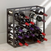 Black Steel 25 Bottle Stackable Wine Grid