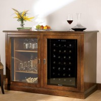 Siena Mezzo Wine Credenza - Nero and Two 28 Bottle Touchscreen Wine Refrigerators - Walnut Showcase
