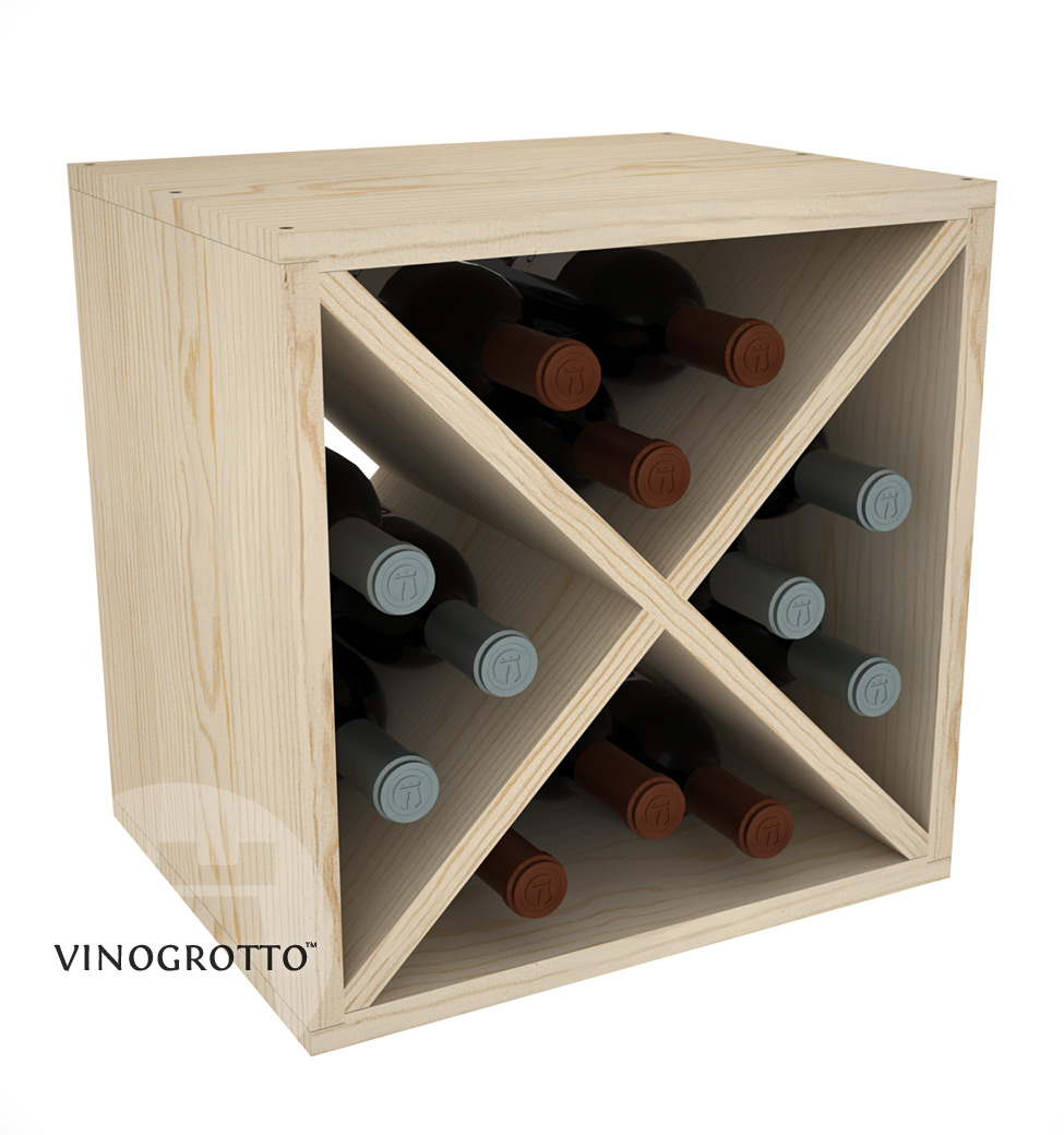 12 Bottle Wine Cube - Pine Showcase