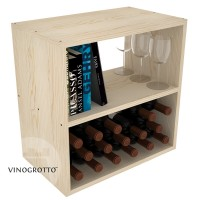 Wine Cube with Horizontal Shelf - Pine Showcase
