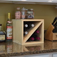 6 Bottle Countertop Wine Cube Pine
