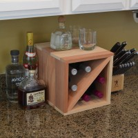 6 Bottle Countertop Wine Cube Redwood Showcase