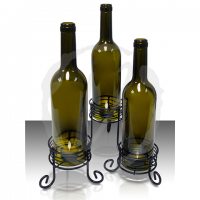 Recycled Wine Bottle Candle Holders