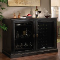 Siena Mezzo Wine Credenza - Nero and Two 28 Bottle Touchscreen Wine Refrigerators - Nero Showcase
