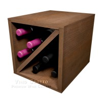 6 Bottle Wine Storage Cube Pine Walnut Finish