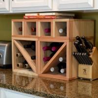 VINOGROTTO-MCWC-16-R - 16 Bottle Countertop Cube Set - Redwood
