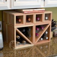 VINOGROTTO-MCWC-16-R - 16 Bottle Countertop Cube Set - Redwood Showcase