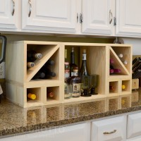 VINOGROTTO-MCWC-28C-P - 28 Bottle Countertop Cube Set with Cubby Pine
