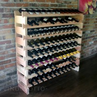 Long Cellar Rack Set - 8 Rows - Holds 96 Bottles - Redwood Showcase