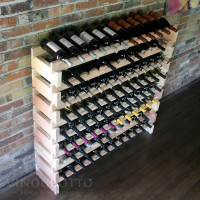 Long Cellar Rack Set - 8 Rows - Holds 96 Bottles - Redwood