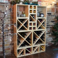 VINOGROTTO-WCMC-134-P - 134 Bottle Wine Cube Wall - Winter Pine Showcase