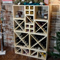 VINOGROTTO-WCMC-134-P - 134 Bottle Wine Cube Wall - Winter Pine