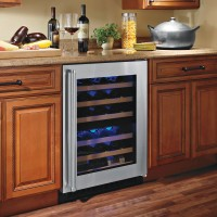 American Designer Series 44-Bottle Dual Zone Wine Refrigerator - steel-trim-with-glass-door showcase