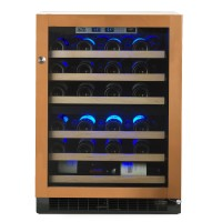 American Designer Series 44-Bottle Dual Zone Wine Refrigerator - wood-overlay-with-glass-door showcase