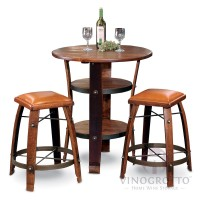Round Barrel Stave Table with 2 Stave Stools