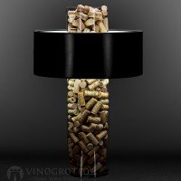 24 Inch Cork Lamp with Black Matte Shade