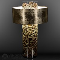 28 Inch Cork Lamp with Gold Shade