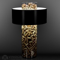 28 Inch Cork Lamp with Black Matte Shade
