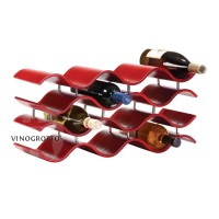 Bali 12 Bottle Wave Wine Rack - Crimson