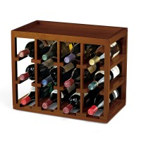 12 Bottle Cube-Stack Wine Rack (Walnut Finish)