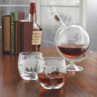 Etched Globe Spirits Decanter & Glass Set