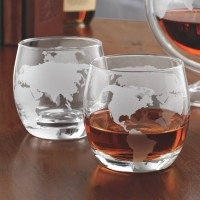 Etched Globe Whiskey Glasses (Set of 2)