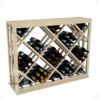 Professional Series - Half Height - Lattice Diamond Wine Bin - Pine Showcase