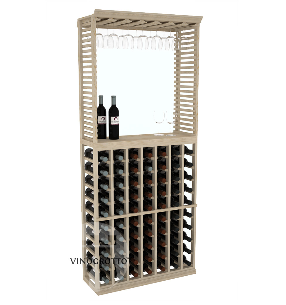 Professional Series - 6 Foot - Standard Tasting Station with Stemware Rack - Pine Showcase