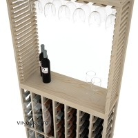 Professional Series - 6 Foot - Standard Tasting Station with Stemware Rack - Pine Detail