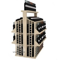 Retail Value Series - 300 Bottle Commercial Aisle Display with 4 Shelves + Solid Top - Pine