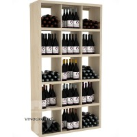 Retail Value Series - Commercial Rectangular Wine Bin and Shelf - 240 Bottles - Pine Showcase