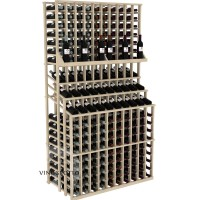 Retail Value Series - 300 Bottle Triple Tier Wine Display with Double Deep Base - Pine Showcase