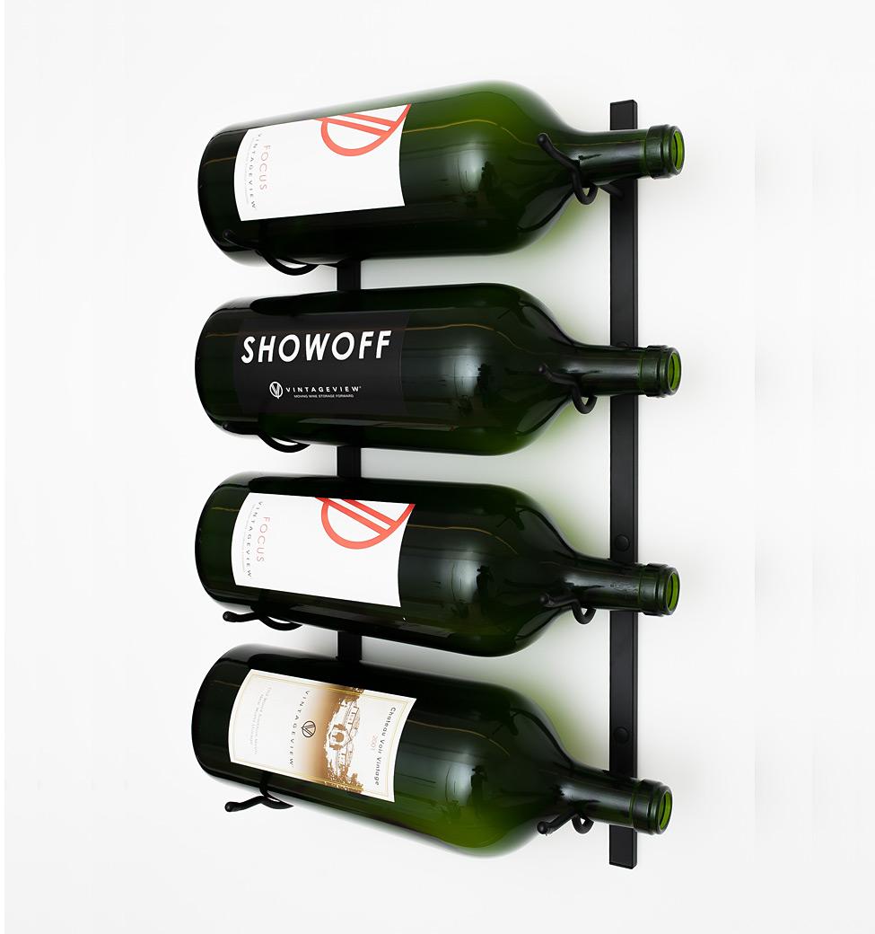VintageView Big Bottle Wall Wine Rack (3-6 Liter bottles) - Satin-Black Showcase