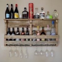 Large Pallet Wine Wall Rack in Antique-Oak Finish