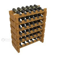 Vino Grotto 36 Bottle Short Scalloped Wine Rack Set - Pine Oak-Stain Showcase