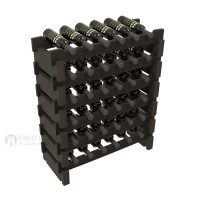 Vino Grotto 36 Bottle Short Scalloped Wine Rack Set - Redwood Ebony-Stain Showcase