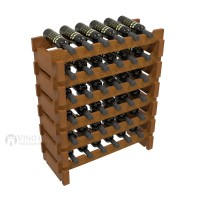 Vino Grotto 36 Bottle Short Scalloped Wine Rack Set - Redwood Oak-Stain Showcase