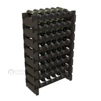 Vino Grotto 48 Bottle Short Scalloped Wine Rack Set - Redwood Ebony-Stain Showcase
