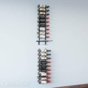 Wall Series + Stemware Rack Design Kit - 45 Bottles, 6 Stems (Satin-Black Showcase)