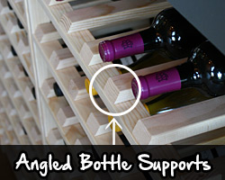 Angled bottles supports, easy on bottle labels