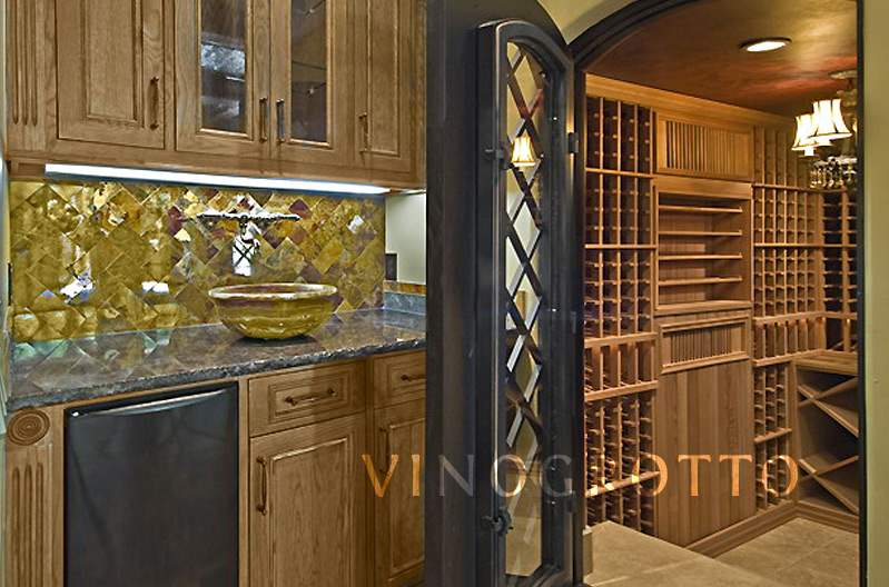Wine cellar connected to kitchen