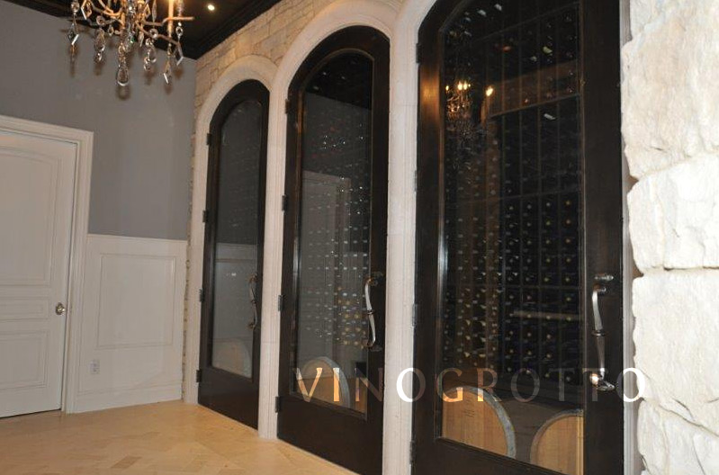 Glass wine cellar door with black finish