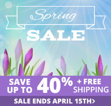 Spring Sale - Save up to 40% + Free Shipping