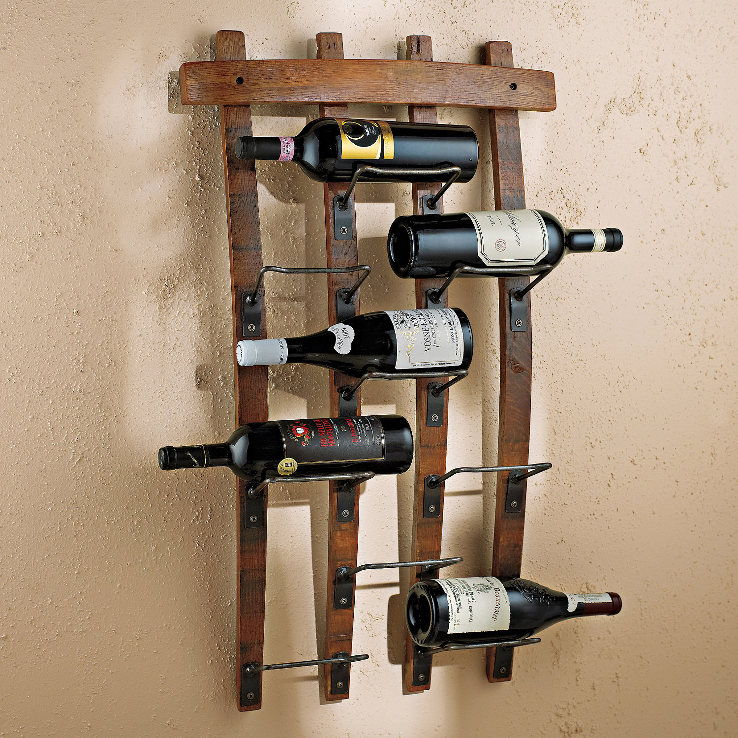 9 Bottle Barrel Stave Wall Wine Rack Vino Grotto