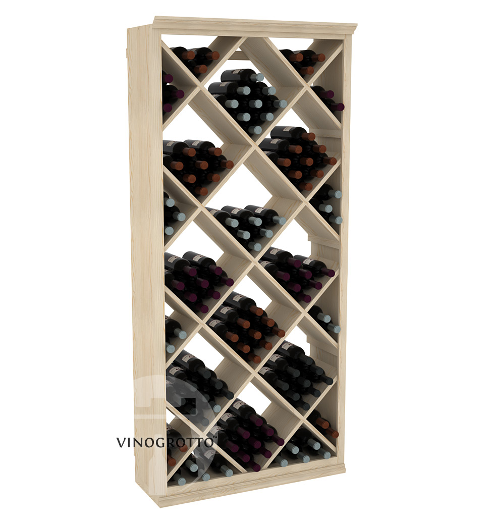 Professional Series - 6 Foot - Solid Diamond Wine Bin - Pine Showcase