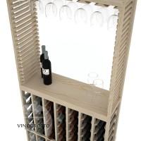 Professional Series - 6 Foot - Standard Tasting Station with Stemware Rack - Pine Detail