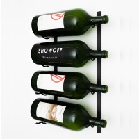 VintageView Big Bottle Wall Wine Rack (3-6 Liter bottles) - Satin-Black Showcase