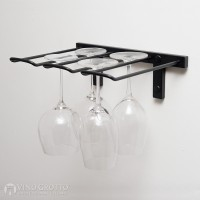 VintageView Stemware Rack - 4 Glasses (Matte-Black Showcase)